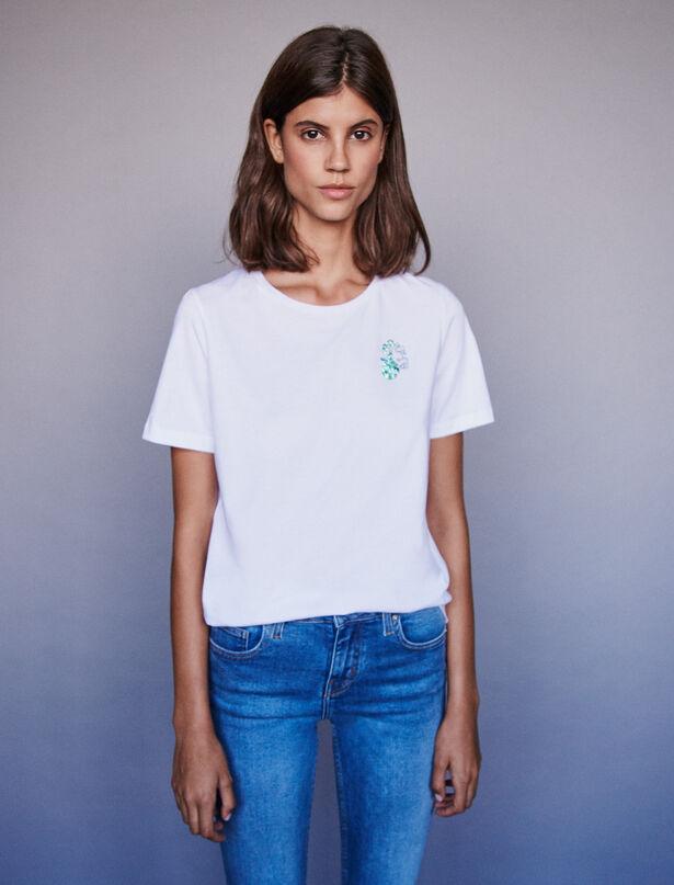 마쥬 카프리콘 라인스톤 티셔츠 MAJE Capricorn rhinestone embroidered t-shirt,Ecru