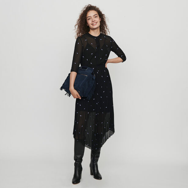 마쥬 캐시미어 원피스 MAJE 119REMI PLEATED DRESS WITH EMBROIDERED CASHMERE,Black