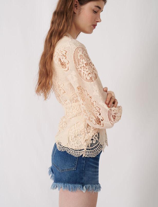 마쥬 퍼프 소매 페플럼 블라우스 MAJE 220LALOU Guipure blouse with peplum,Nude