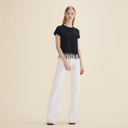 T-shirt with beaded fringes - Tops & Shirts - MAJE
