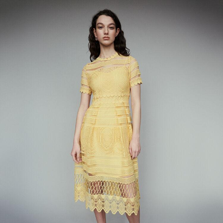 마쥬 19SS 로즈레이 레이스 롱 원피스 - 옐로우 (소이현, 이시영 착용)  MAJE ROSERAY Long dress in guipure,Yellow
