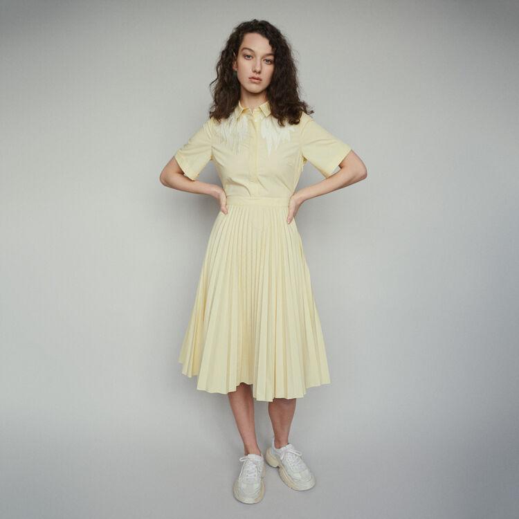 마쥬 RIVERS 플리티드 셔츠 원피스 옐로우 MAJE RIVERS Pleated shirt dress with back opening,Yellow