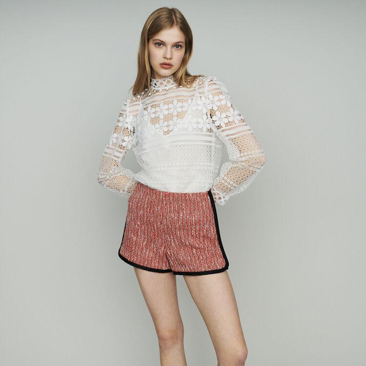 마쥬 MAJE IVERI Tweed-style shorts,Red
