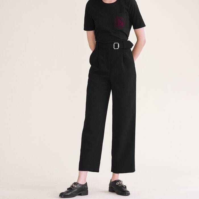 Wide leg trousers with belt -  - MAJE