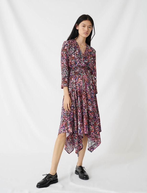 마쥬 플로럴 랩 원피스 MAJE 220RAYEMI Floral wrap dress,Black/Pink