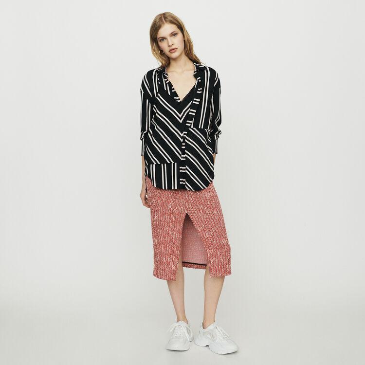 마쥬 LARENCIA 스트라이프 셔츠 MAJE Shirt with trompe-l'OEil stripes,Stripe