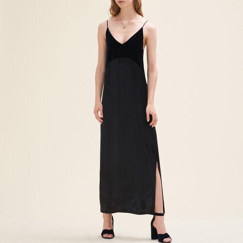 Long dual-material dress - Dresses - MAJE