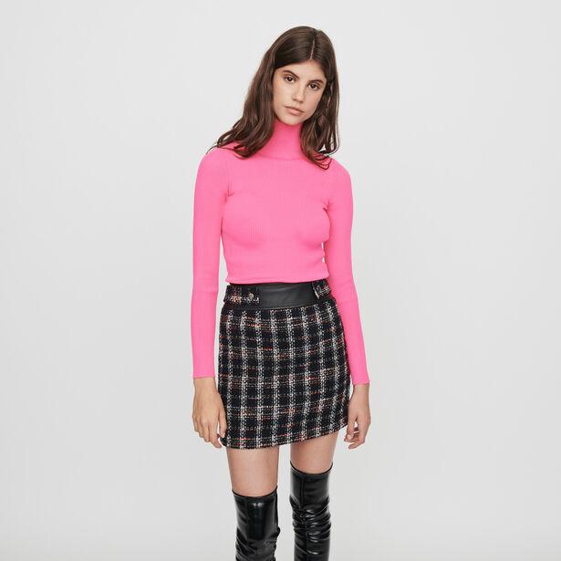 마쥬 라이트 골지 터틀넥 스웨터 - 네온 핑크 MAJE 119MALANGOU Light ribbed turtleneck sweater,Fluorescent Pink