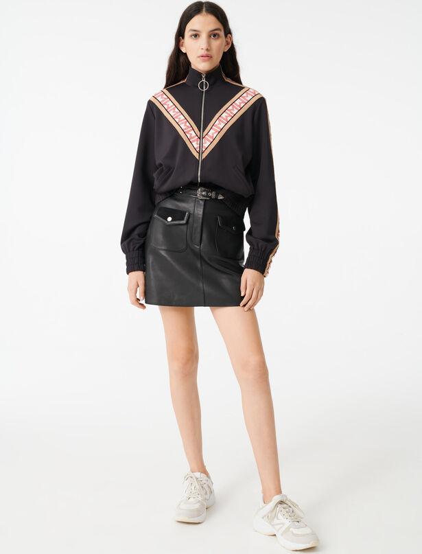 마쥬 집업 스웻셔츠 MAJE 220TREVISE Zip sweatshirt with contrasting bands,Black