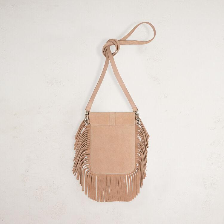 Suede shoulder bag with fringes -  - MAJE