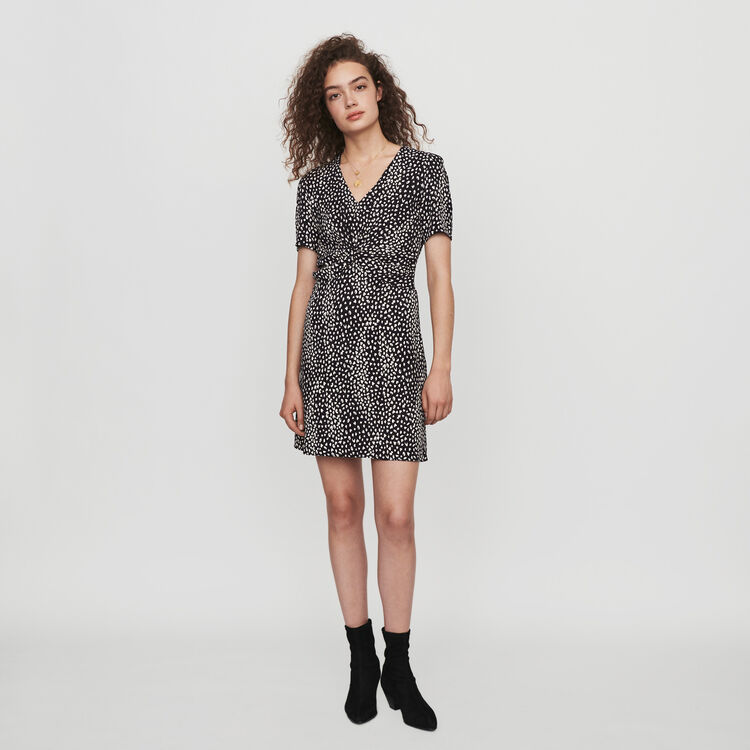 마쥬 원피스 MAJE 119RIPI GATHERED DRESS IN PRINTED JACQUARD,Black