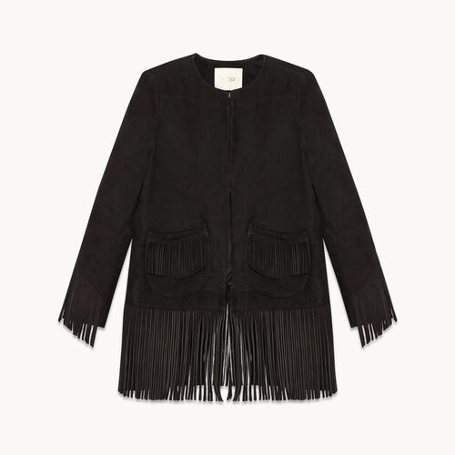 Suede fringed jacket - Coats & Jackets - MAJE
