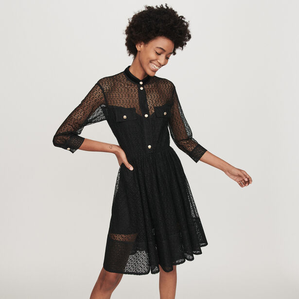 마쥬 원피스 MAJE 119RAMONA Lace skater dress,Black