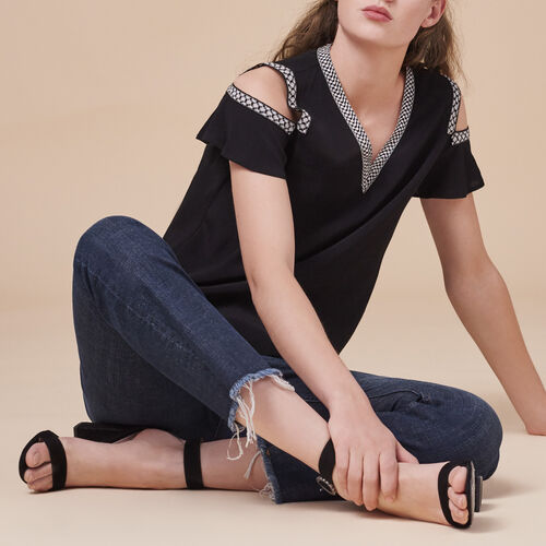 Crêpe off-the-shoulder top - Tops & Shirts - MAJE