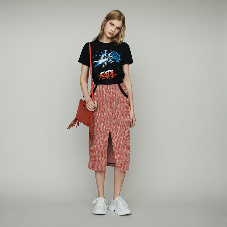 마쥬 JIVOR 미디 트위드 스커트 - 레드 MAJE Midi tweed-style skirt,Red