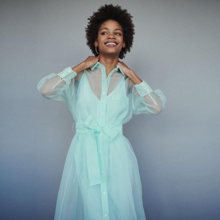 마쥬 MAJE ROANE Long organza-style shirt dress,Sea Green