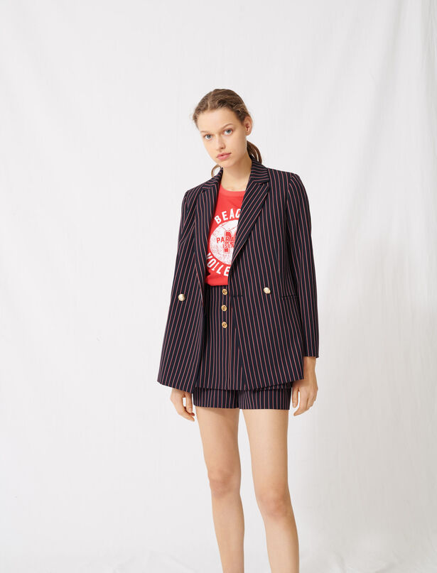 마쥬 스트라이프 더블 자켓 MAJE 220VELDA Striped double-breasted jacket,Navy