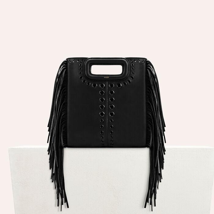 Leather M bag with eyelets and fringing -  - MAJE