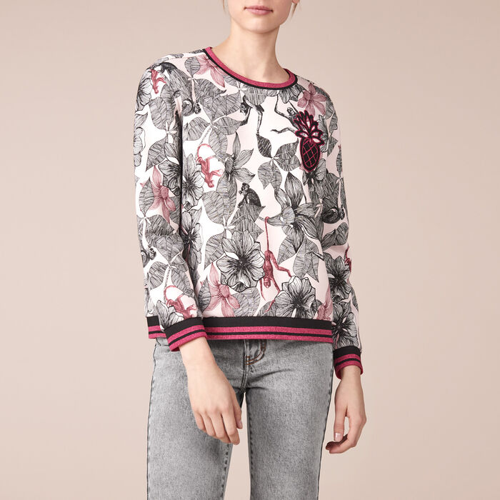 Printed cotton embroidered sweatshirt -  - MAJE