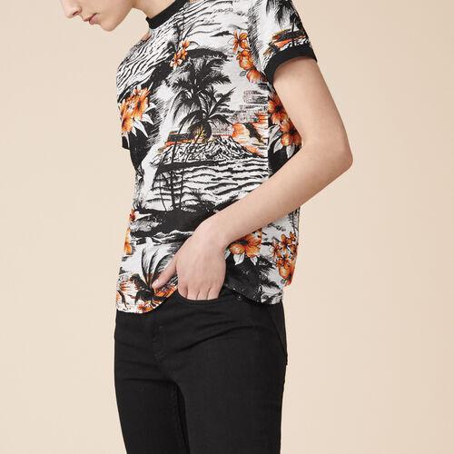 Printed linen T-shirt - Tops & Shirts - MAJE