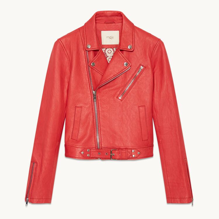 BOSTEP Biker-style leather jacket - Coats & Jackets - Maje.com