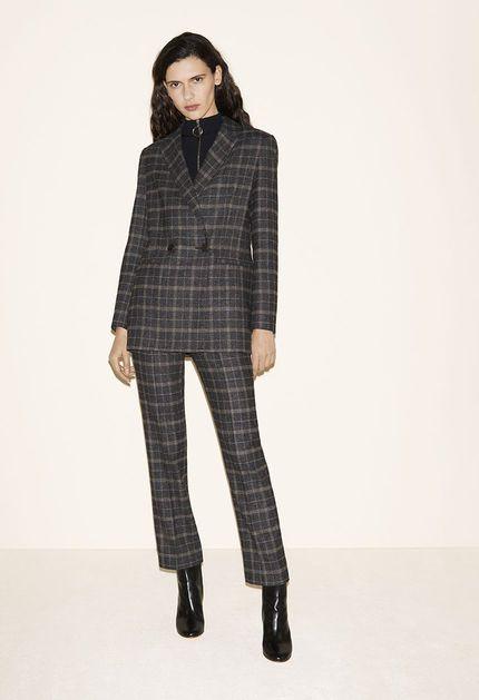 Tartan blazer, Sweater with zipped collar, Tartan trousers, Leather ankle boots - FW MAJE 2017 Lookbook