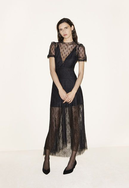 Long dress in a mixture of lace, Suede goatskin court shoes - FW MAJE 2017 Lookbook