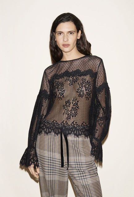 Blouse in lace, Checked jogging bottoms - FW MAJE 2017 Lookbook