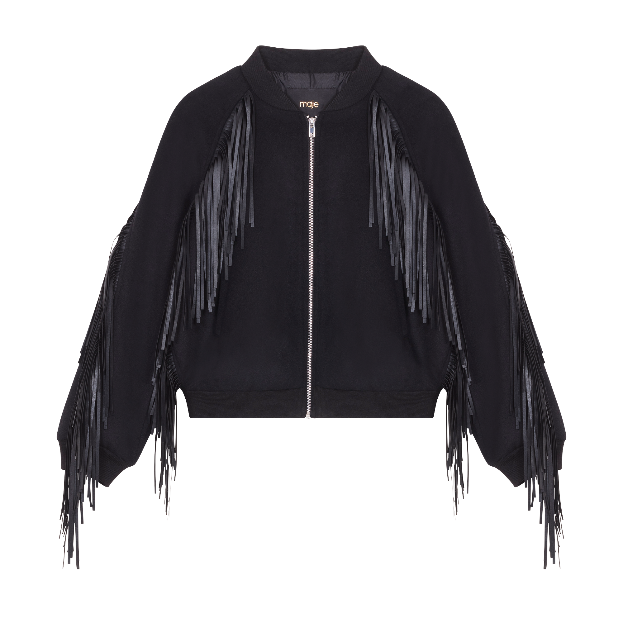 Bomber style jacket with fringing - Majexclusive - MAJE