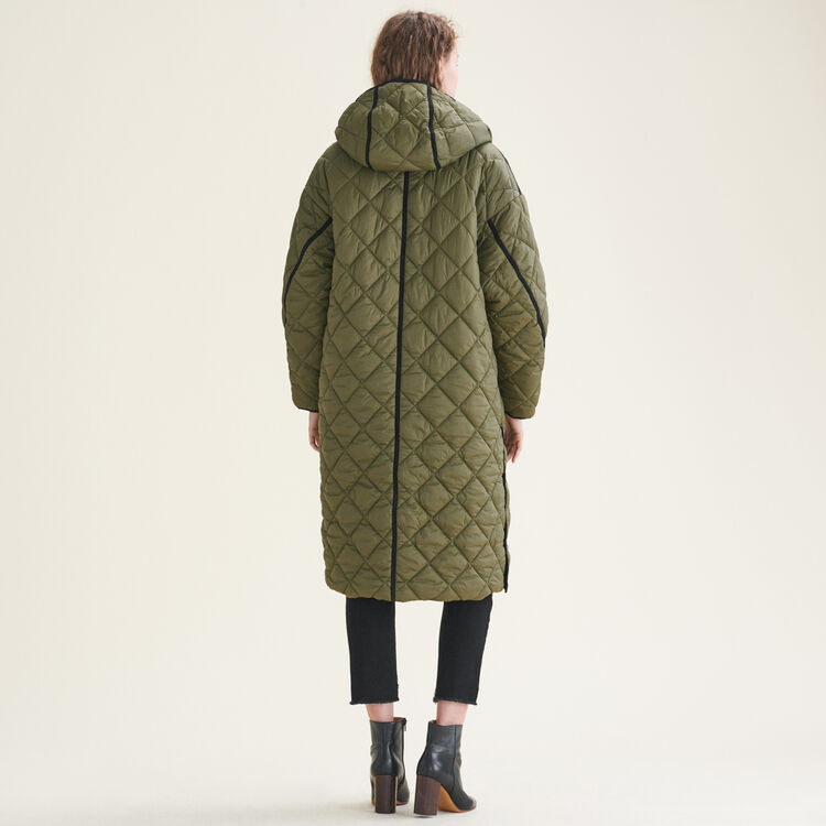Long reversible down jacket : Coats & Jackets color Khaki