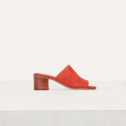 Heeled mules in suede : Shoes color Terracota