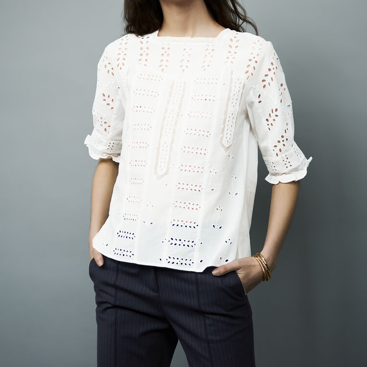 Embroidered cotton top : Tops & Shirts color White