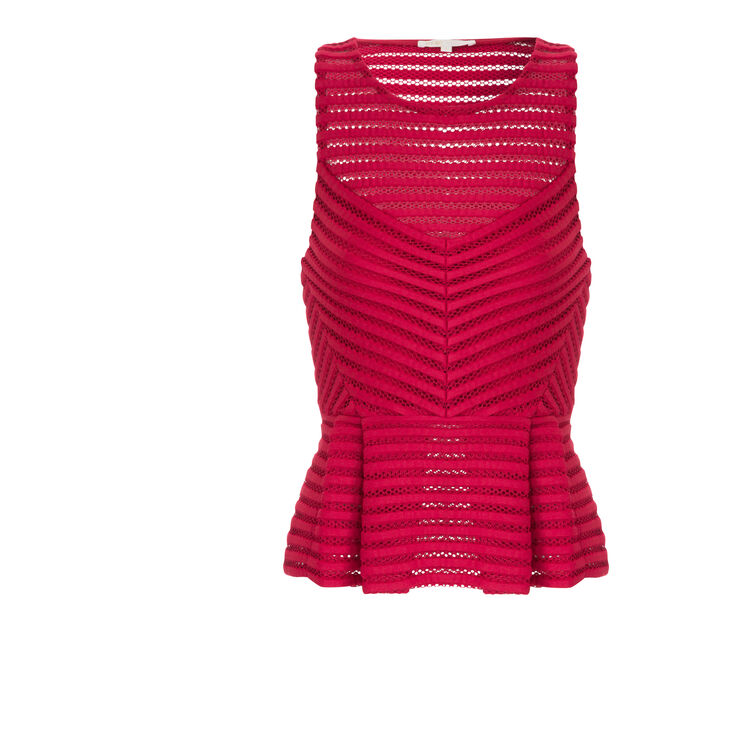 Openwork knit top with peplum : null color