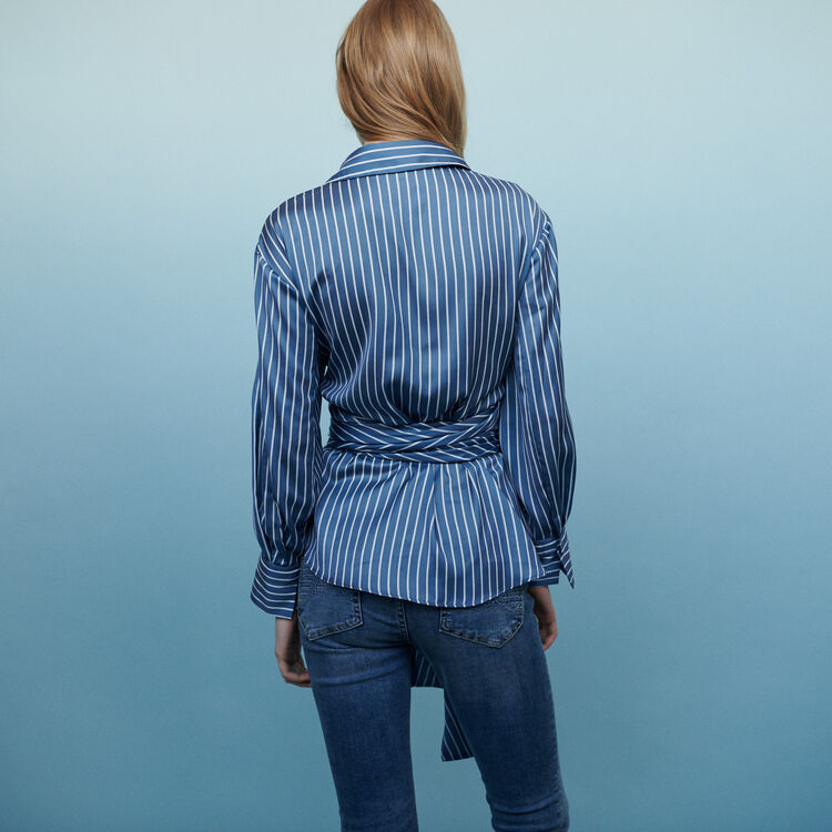 Wrap blouse with stripes : Tops & T-Shirts color Stripe