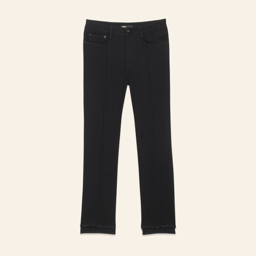 Straight-cut jeans with asymmetric hem : Pants & Jeans color Black 210