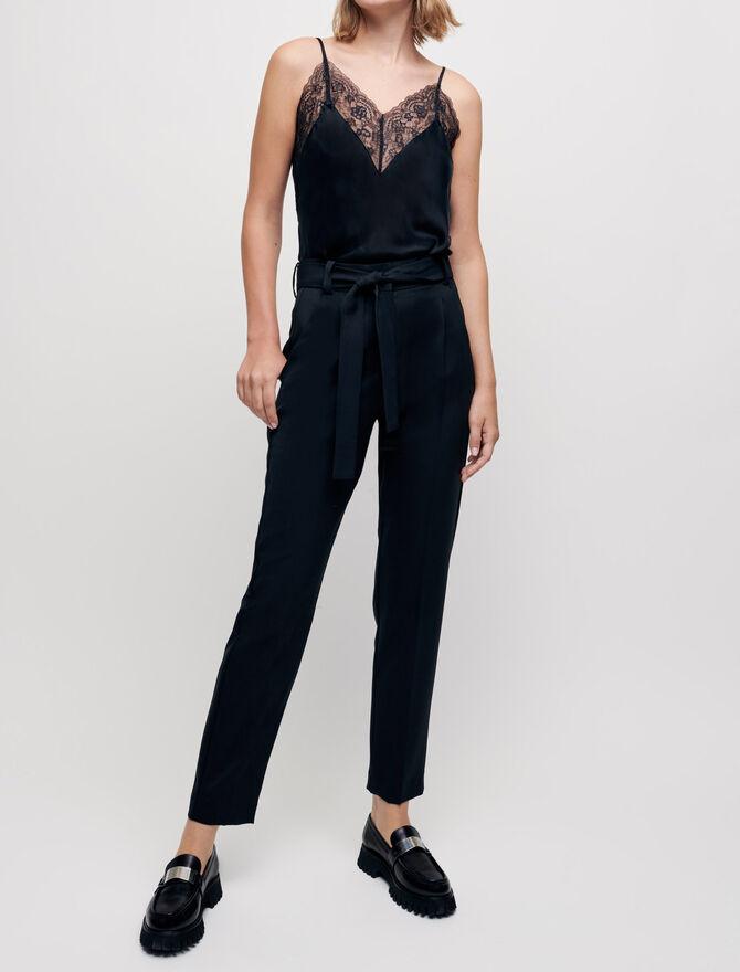 Pantalon carotte avec ceinture - Pants & Jeans - MAJE