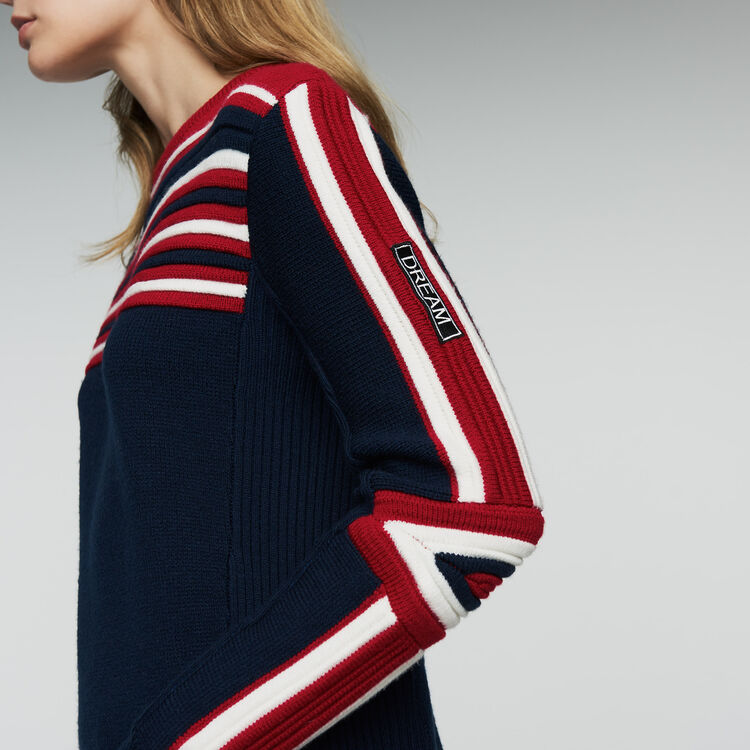 Sweater in novelty tricolor knit : Sweaters color Navy