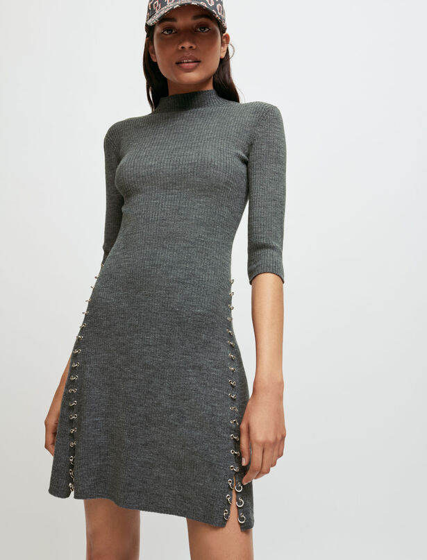 Maje Knitted dress with collar and piercings