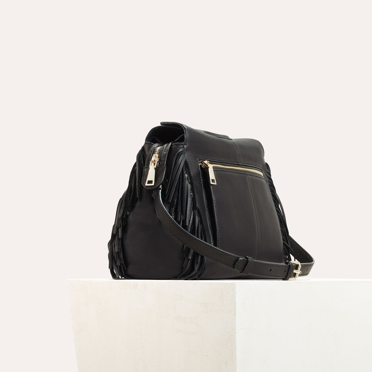 MWALK bag with leather fringes : The Spring Essentials color Black 210