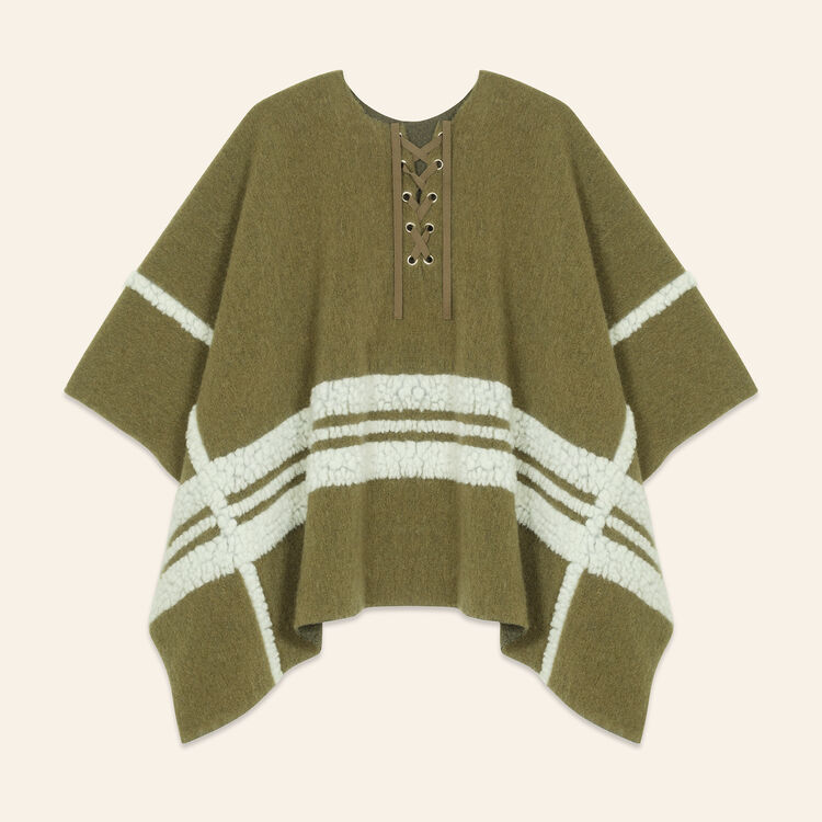 Poncho with a mix of fabrics : Scarves color Khaki