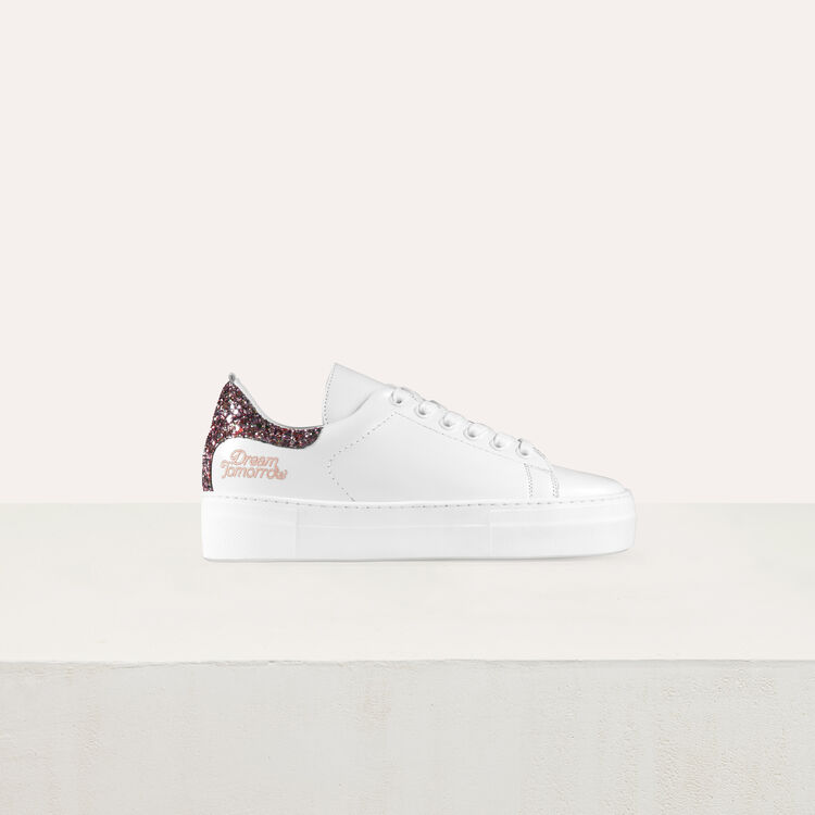 Leather sneakers with sequin detail : Shoes & Accessories color White
