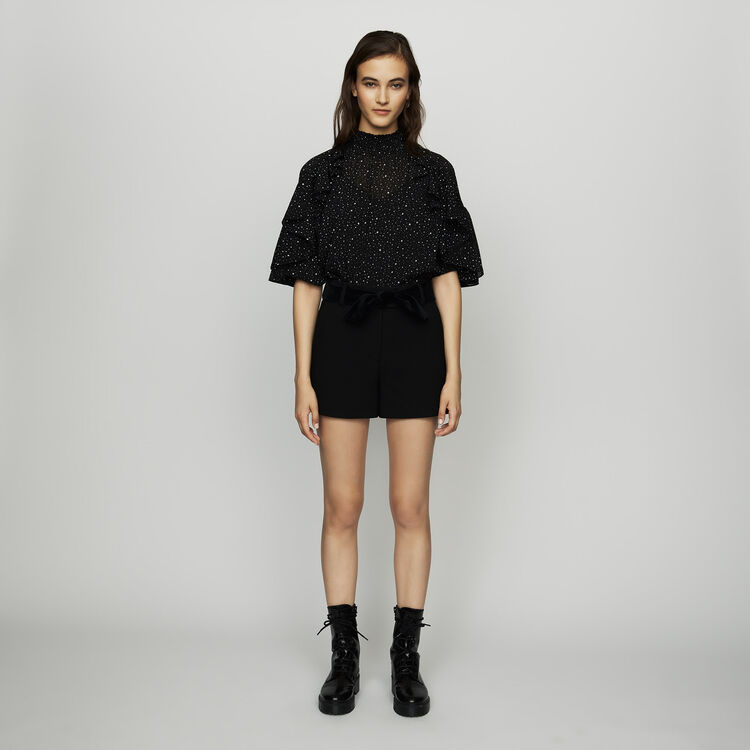 Fancy shorts with satin belt : The Spring Essentials color Black 210