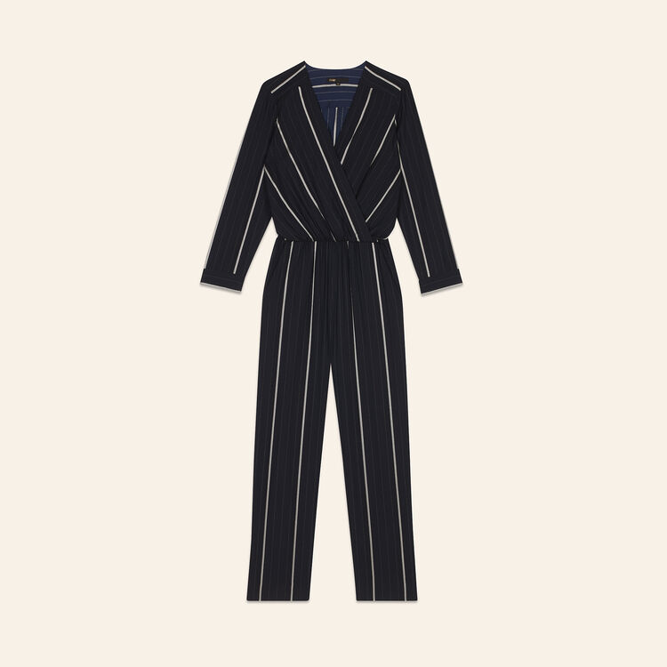 Striped jumpsuit : Jumpsuits color Navy