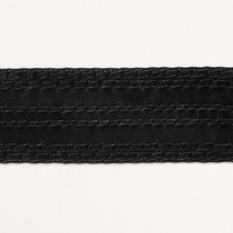 High-waisted suede belt : The Essentials color Black 210