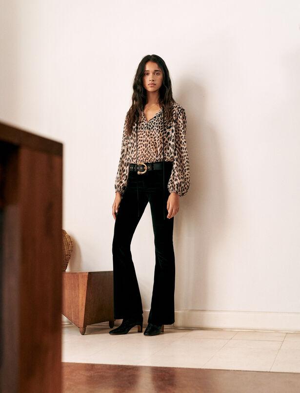 마쥬 MAJE Flared velvet trousers,Black
