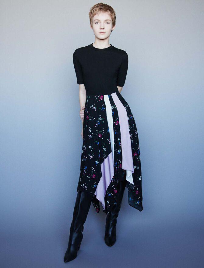 Mixed print layered dress - Dresses - MAJE