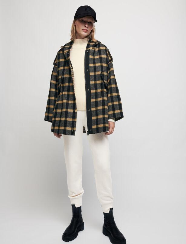 마쥬 MAJE Checked coat with hood,Black/Camel