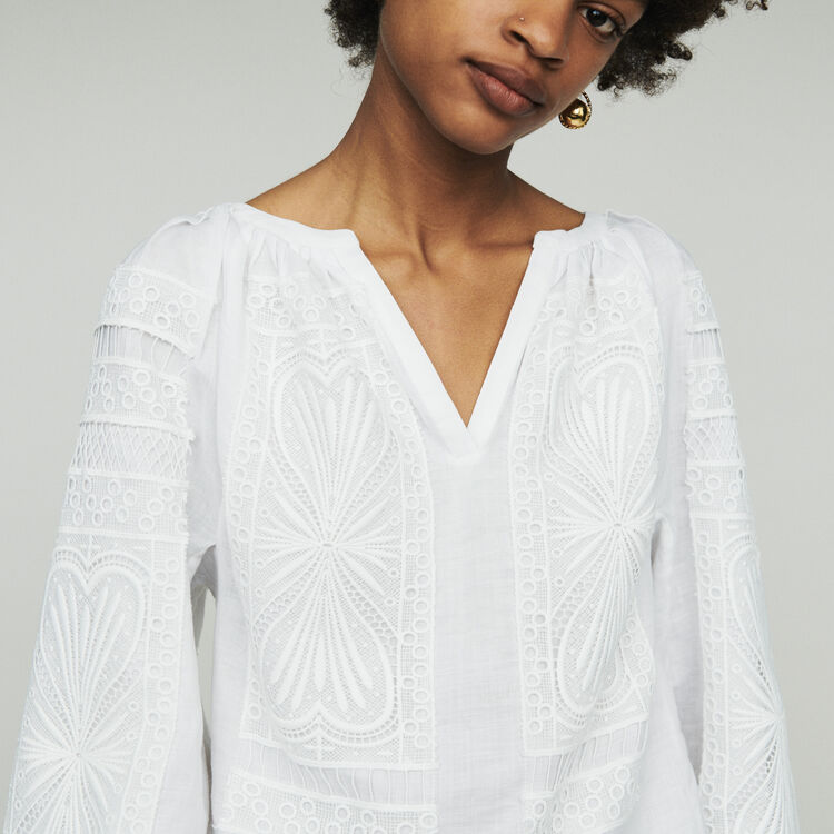 Blouse with guipure  : Tops & T-Shirts color White
