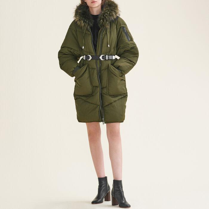 GORANGE Long down jacket with fur - Coats & Jackets - Maje.com