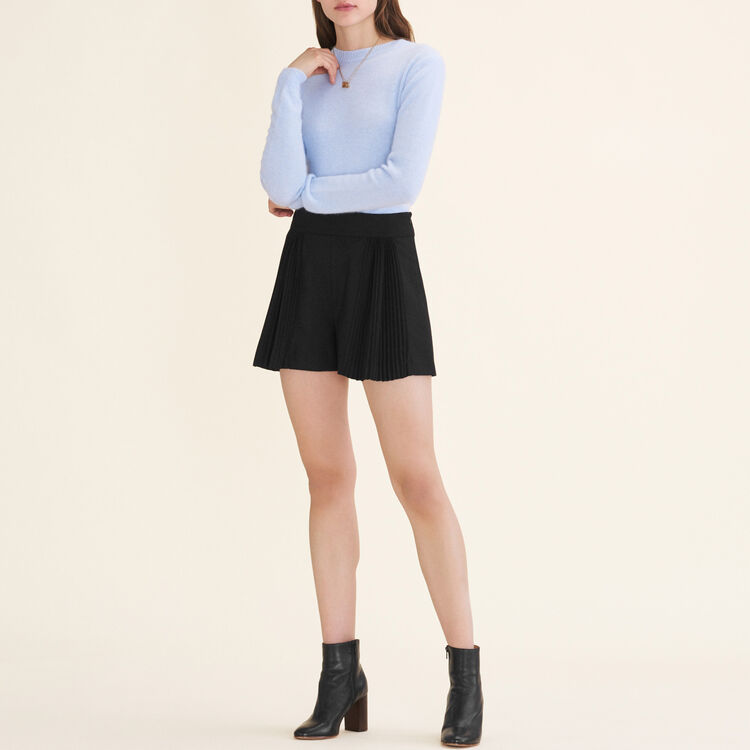 Cropped shorts with pleated details : Skirts & Shorts color Black 210